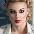 Retro stylised fashion woman portrait Royalty Free Stock Photo