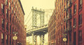 Retro stylized Manhattan Bridge seen from Dumbo, New York Royalty Free Stock Photo