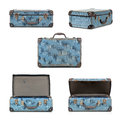 Retro suitcase collection small blue vintage in different views isolated on white my old childhood school case Stock Photography