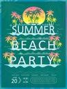 Retro summer beach party poster design