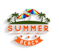 Retro summer holidays  labels and signs Vector illustration design elements Royalty Free Stock Photo