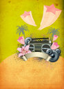 Retro summer party background Royalty Free Stock Photo
