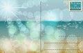 Retro summer postcard vector illustration with glittering light ocean and beach Stock Photos