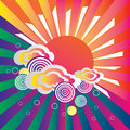 Retro sun and clouds  background Royalty Free Stock Photos