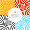 Retro sunburst rays set in vintage style. Spiral effect. Abstract comic book background Royalty Free Stock Photo