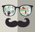 Retro sunglasses with reflection for hipster. Vector illustration of accessory - glasses isolated. Royalty Free Stock Photo