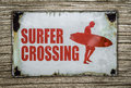 Retro Surfer Crossing Sign On Wooden Background Royalty Free Stock Photo