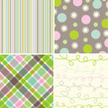 Retro sweet pink green pattern Royalty Free Stock Photo