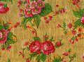 Retro tapestry with roses detail of textile pattern Stock Photography