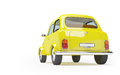 Retro taxi back of d cute fifties on white background Royalty Free Stock Images