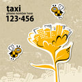 Retro taxi banner service with a phone number Stock Image