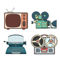 Retro tehnology colorfull vector lineart illustration color Royalty Free Stock Images