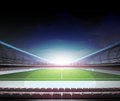 Retro television in the midfield of football stadium Royalty Free Stock Photo