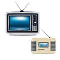 Retro television and radio isolated on white Royalty Free Stock Photo