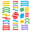 Retro text ribbon banners in flat style. Vector stock Royalty Free Stock Photo