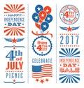 Retro 4th of July design elements