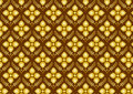 Retro Thai Flower Pattern on Brown Background Stock Images