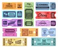 Retro tickets. Circus, cinema and theatre admit one ticket. Vintage admission coupon, concert and movie night tickets Royalty Free Stock Photo