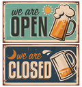 Retro tin door signs set for pub or tavern with beer mug vintage metal creative template with drink on rusty old texture Royalty Free Stock Image
