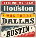 Retro tin sign collection with USA city names