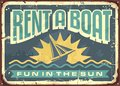 Retro tin sign design for boat rentals Royalty Free Stock Photo