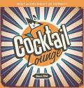 Retro tin sign design for cocktail lounge Royalty Free Stock Photo
