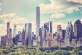Retro toned picture of Manhattan skyline over Central Park, NYC. Royalty Free Stock Photo