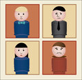 Retro toy people cute vector characters with varying expressions Stock Images