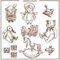 Retro toys sketch collection vector hand drawn isolated vintage icons set Royalty Free Stock Photo