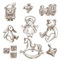 Retro toys sketch vector icons set Royalty Free Stock Photo