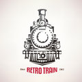 Retro train, vintage  vector symbol Royalty Free Stock Photo