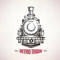 Retro train, vintage  vector symbol Royalty Free Stock Photo