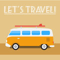 Retro travel bus with surf board summer illustration Royalty Free Stock Image