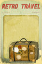 Retro Travel Postcard - Old Suitcase Royalty Free Stock Photos