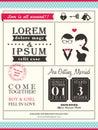 Retro trendy wedding invitation card template layout Royalty Free Stock Photography
