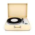 Retro turntable on white background Stock Images