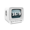 Retro tv with a hd aspect ration icon symbol on a white background d rendering Stock Photography