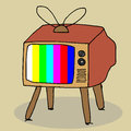 Retro tv illustration of cute hand drawn Royalty Free Stock Photo