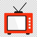 Retro tv screen vector icon in flat style. Old television illustration on isolated transparent background. Tv display business co Royalty Free Stock Photo