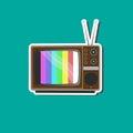 Retro tv sticker for business