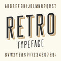 Retro typeface letters numbers and symbols vintage alphabet vector font for labels titles posters etc Royalty Free Stock Photography