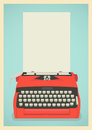 Retro typewriter background mid century illustration with and paper sheet Royalty Free Stock Photo