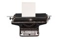 Retro typewriter with with a blank sheet of paper  isolated on white background Royalty Free Stock Photos