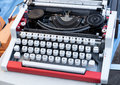 Retro typewriter cyrillic keyboard flea market Stock Images