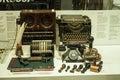 Retro typewriter displayed in showcase in London Science Museum