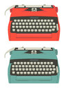 Retro typewriter set mid century illustration of typewriters isolated on white Royalty Free Stock Images