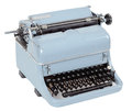 Retro typewriter on white background view blue Royalty Free Stock Images