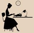 Retro typist vintage style female typing secretary silhouette Royalty Free Stock Photography