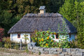 Retro ukrainian cottage with thatched roof Royalty Free Stock Photo