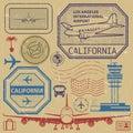 Retro USA airport stamps set, Los Angeles, California theme